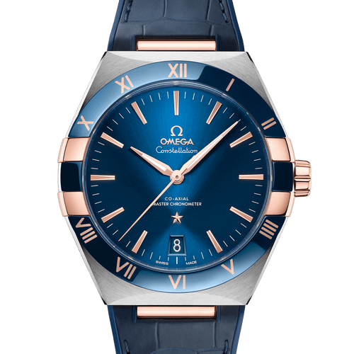 Omega Constellation Co-Axial Master Chronometer Steel & 18ct Rose Gold Blue Dial & Blue Leather Strap 41mm- Front View