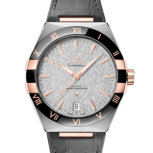 Omega Constellation Co-Axial Master Chronometer Steel & 18ct Rose Gold Grey Dial & Grey Leather Strap 41mm- front view