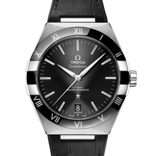 Omega Constellation Co-Axial Master Chronometer Black Dial & Black Leather Strap 41mm- front view