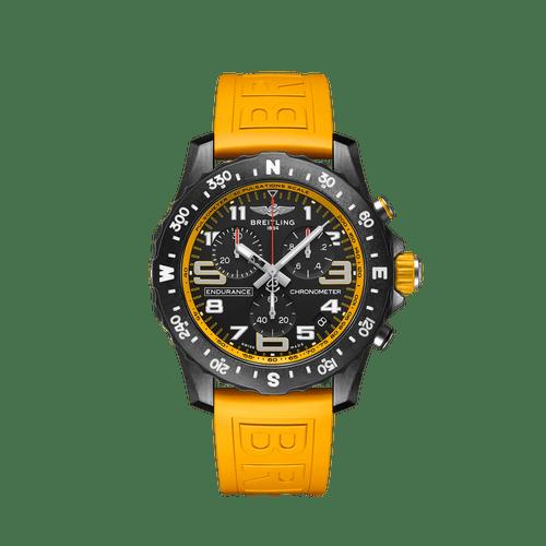 Breitling Endurance Pro SuperQuartz Chronograph Breitlight Black Dial & Yellow Rubber Strap 44mm- Front