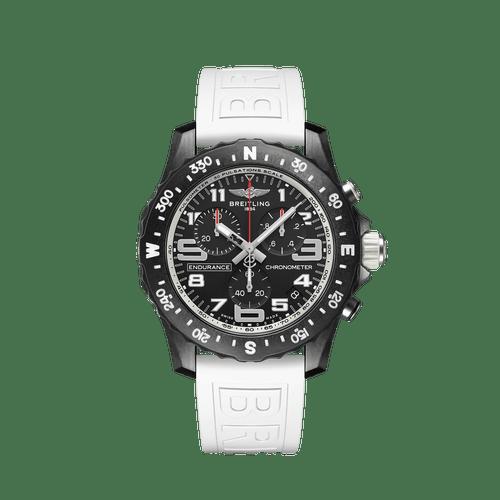Breitling Endurance Pro SuperQuartz Chronograph Breitlight Black Dial & White Rubber Strap 44mm- Front View