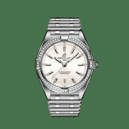 Breitling Chronomat Steel Diamond Bezel Diamond Dot White Dial 32mm- Front