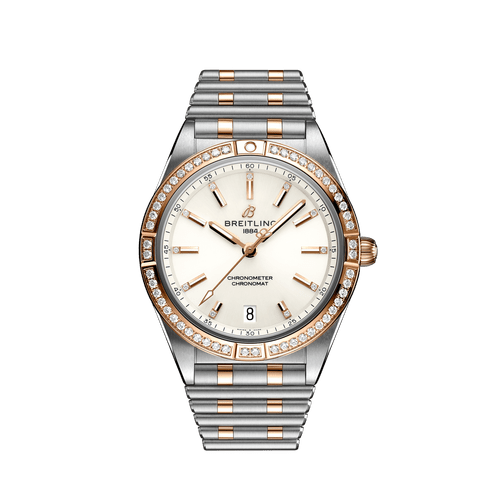 Breitling Chronomat Automatic Steel & 18ct Rose Gold Diamond Bezel Diamond Dot White Dial 36mm- Front View
