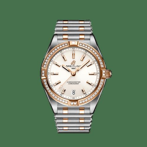 Breitling Chronomat Steel & 18ct Rose Gold Diamond Bezel Diamond Dot White Dial 32mm- Front View