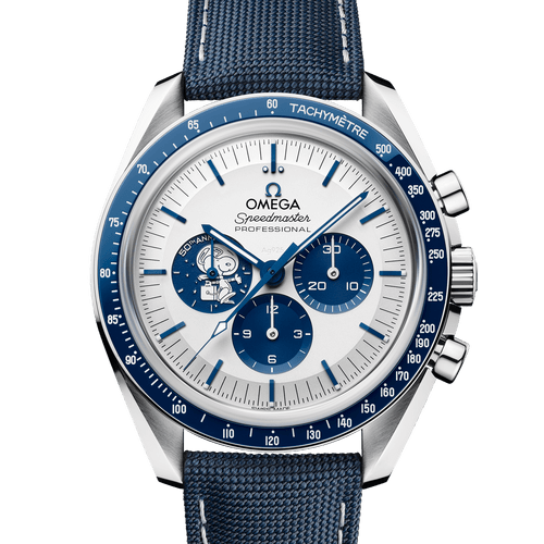 """Omega Speedmaster """"Silver Snoopy Award"""" 50th Anniversary Moonwatch Silver Dial 42mm- Front"""