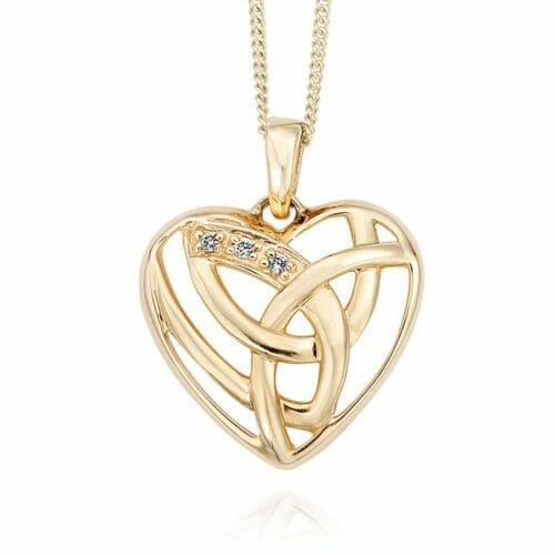Clogau 9ct Yellow Gold Eternal Love Diamond Heart Pendant