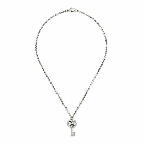 Gucci Sterling Silver GG Marmont Double G Key Pendant & Chain 50cm