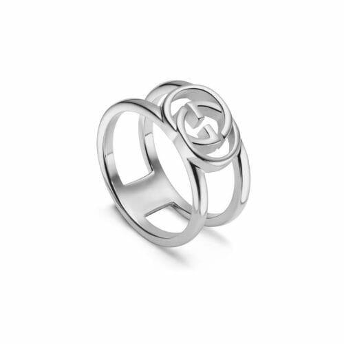 Gucci Sterling Silver Interlocking G Open 9mm Ring