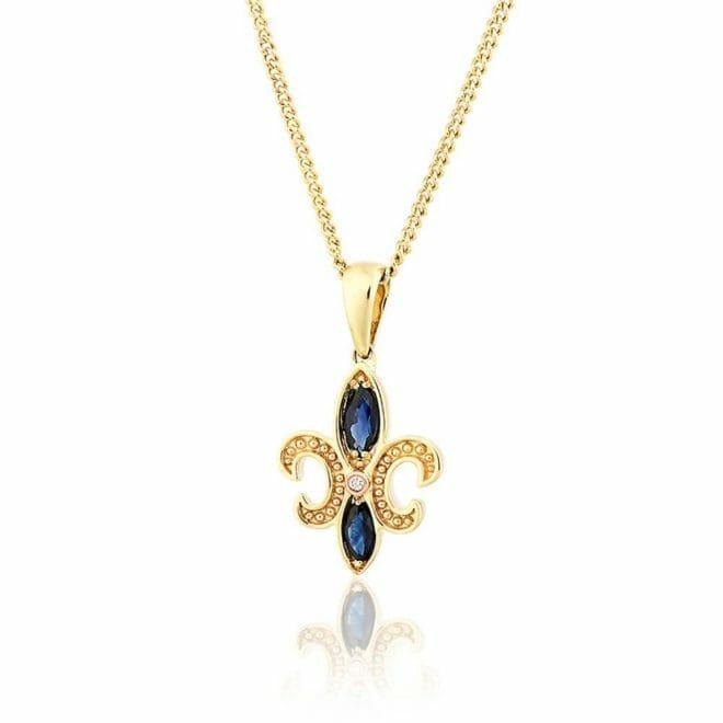 Clogau 9ct Yellow & Rose Gold Bohemia Sapphire & Diamond Pendant