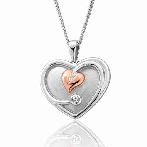 Clogau Sterling Silver & 9ct Rose Gold Tree of Life White Topaz Heart Pendant