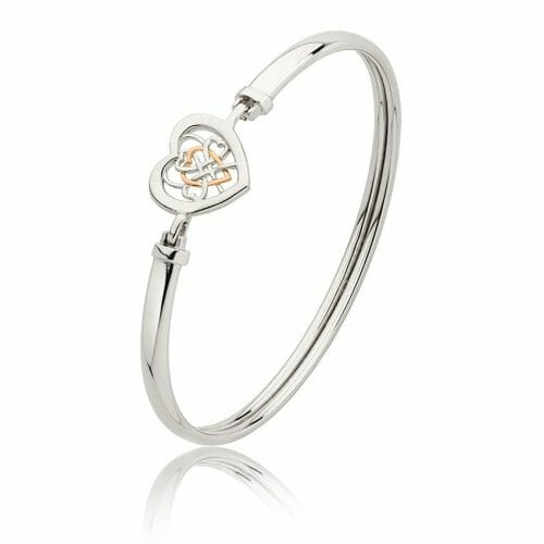 Clogau Sterling Silver & 9ct Rose Gold Welsh Royalty Heart Bangle