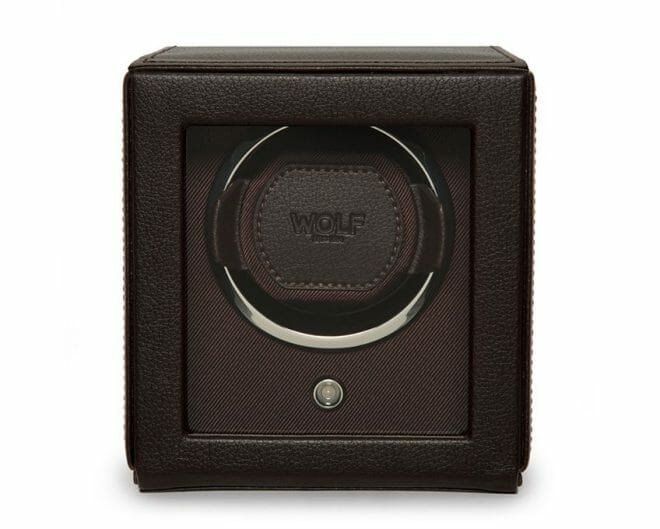 WOLF Brown Cub Single Watch Winder Box with Cover- Front View