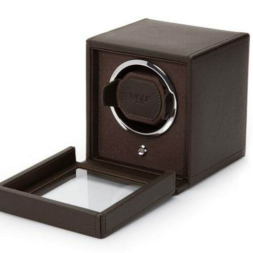 WOLF Brown Cub Single Watch Winder Box with Cover
