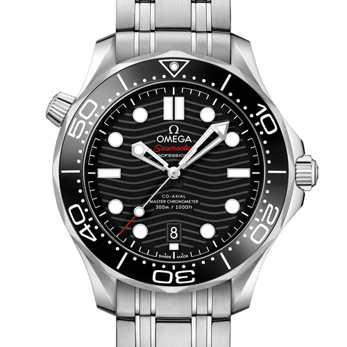 Omega Seamaster Diver 300M Co-Axial Master Chronometer Black Dial 42mm- Front