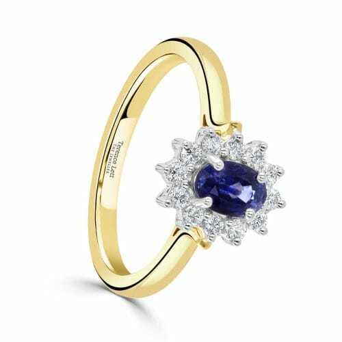 Oval Cut Sapphire & Round Brilliant Diamond Cluster Ring DR2861 – 18ct Yellow Gold - front