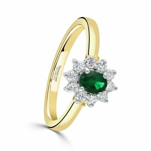 Oval Cut Emerald & Round Brilliant Diamond Cluster Ring