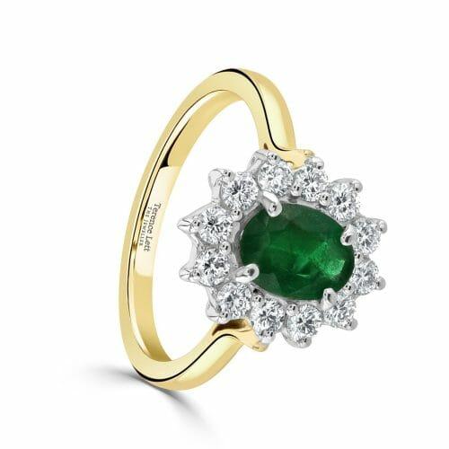 Oval Cut Emerald & Round Brilliant Diamond Cluster Ring DR2871