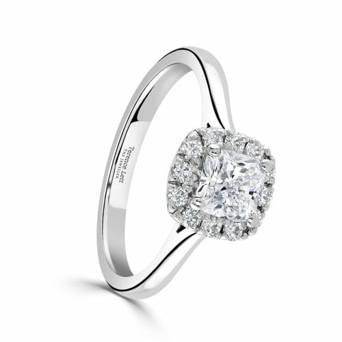 Cushion Cut Diamond Halo Cluster Ring 0.95ct DR2887