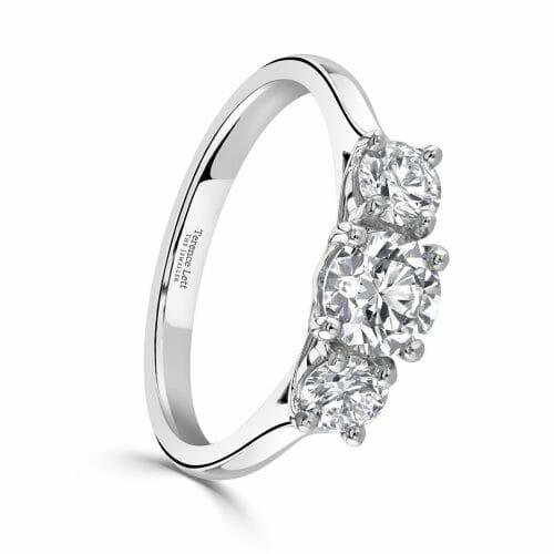 Round Brilliant Diamond Three Stone Claw Set Ring 1.23ct DR2892