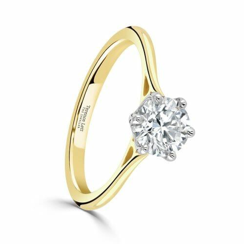 Round Brilliant Cut Diamond Single Stone Six Claw Ring 1ct DR2925
