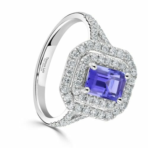 18ct White Gold Octagon Cut Tanzanite & Diamond Cluster Ring with Diamond Set Shoulders