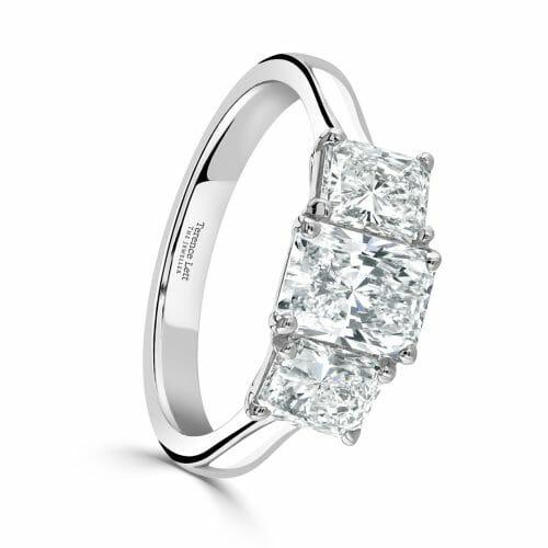 Platinum Radiant Cut Diamond Three Stone Claw Set Ring 2.01ct