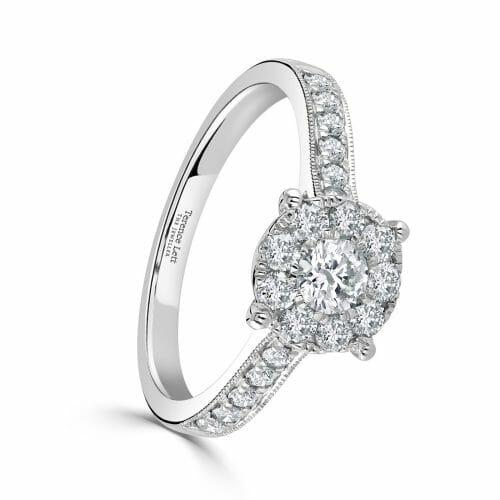 Platinum Round Brilliant Diamond Cluster Ring with Diamond Set Shoulders 0.73ct