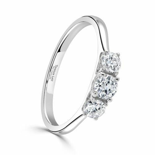 Round Brilliant Diamond Three Stone Claw Set Ring 0.53ct