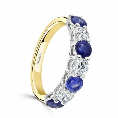 Round Brilliant Sapphire & Diamond Four Claw Set Seven Stone Ring