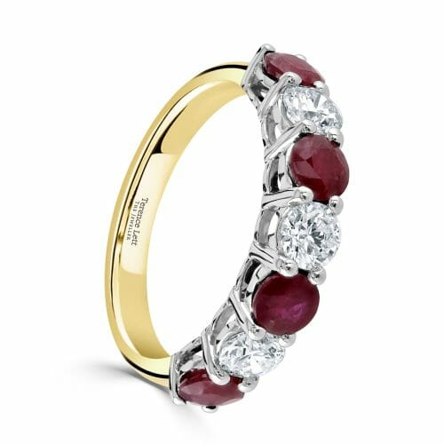 Round Brilliant Ruby & Diamond Four Claw Set Seven Stone Ring