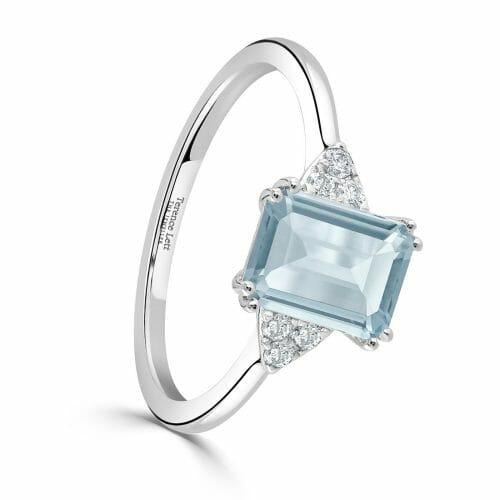 18ct White Gold Emerald Cut Aquamarine & Round Brilliant Diamond Trefoil Ring