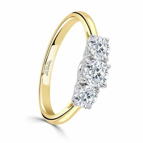 Round Brilliant Diamond Three Stone Claw Set Ring 1ct