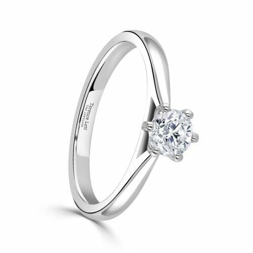 Round Brilliant Cut Diamond Single Stone Six Claw Ring 0.42ct