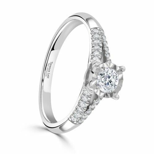 9ct White Gold Round Brilliant Cut Diamond Single Stone Ring with Diamond Set Shoulders 0.43ct