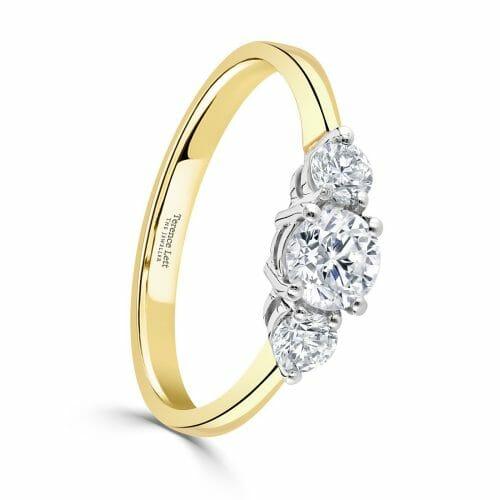Round Brilliant Diamond Three Stone Claw Set Ring 0.75ct
