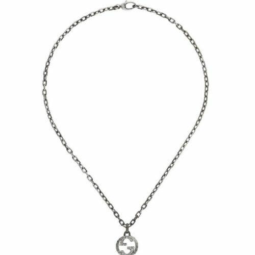 Gucci Sterling Silver Interlocking G Aureco Silver Pendant & Chain 45cm