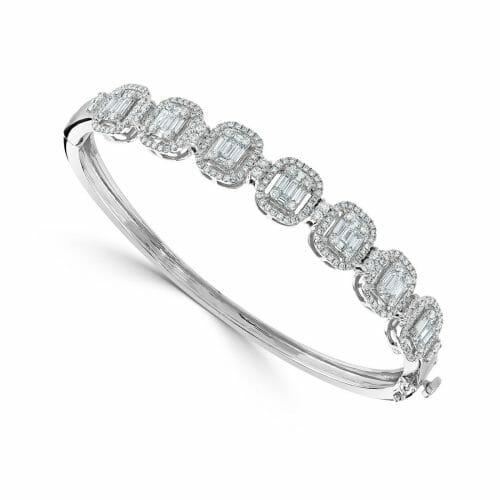 18ct White Gold Round Brilliant & Baguette Cut Diamond Multi-Cluster Bangle 2.26ct