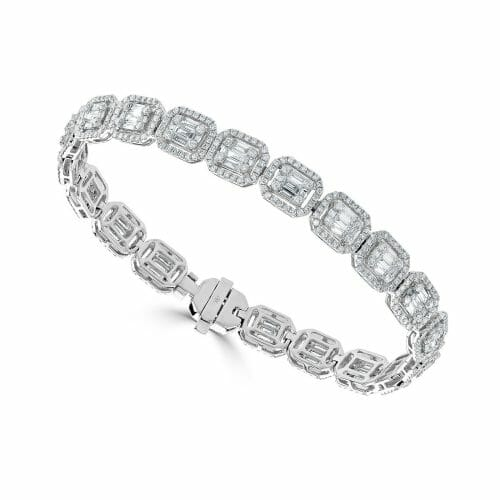 18ct White Gold Round Brilliant & Baguette Cut Diamond Multi-Cluster Bracelet 3.16ct