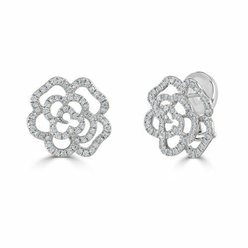 18ct White Gold Round Brilliant Diamond Flower Cluster Stud Earrings 0.83ct