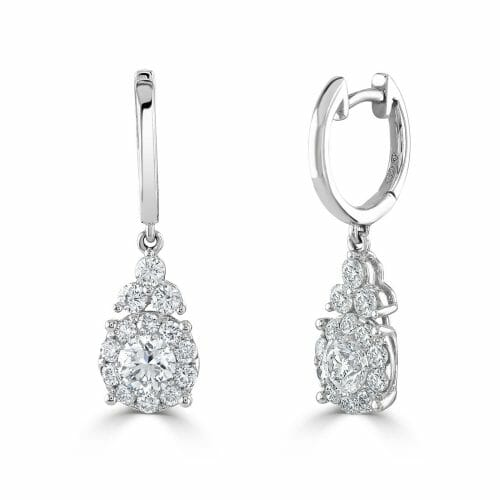 18ct White Gold Round Brilliant Diamond Pear Shape Cluster Drop Earrings