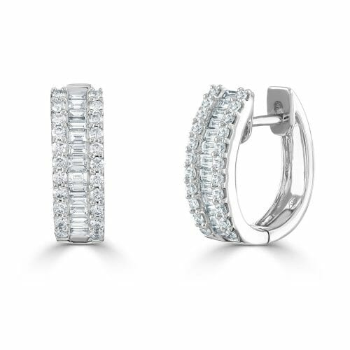 18ct White Gold Round Brilliant & Baguette Cut Diamond Three Row Huggy Earrings 0.92ct