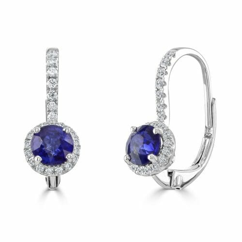 18ct White Gold Round Brilliant Sapphire & Diamond Cluster Drop Earrings
