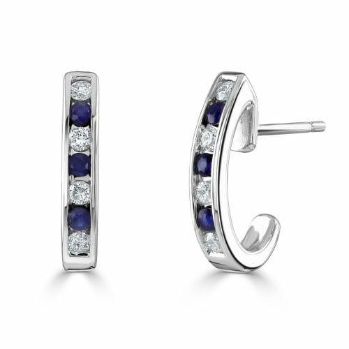 9ct Gold Round Brilliant Sapphire & Diamond Half Hoop Earrings DE1421