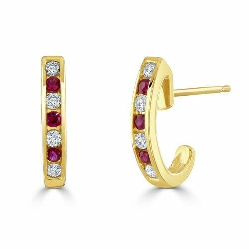 9ct Gold Round Brilliant Ruby & Diamond Half Hoop Earrings