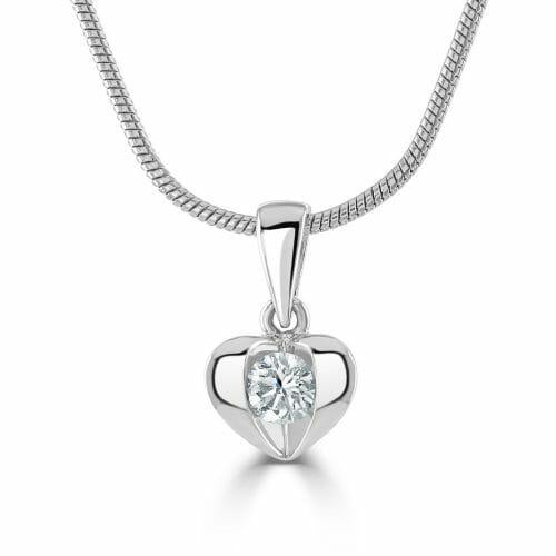Platinum Round Brilliant Diamond Heart Pendant 0.12ct