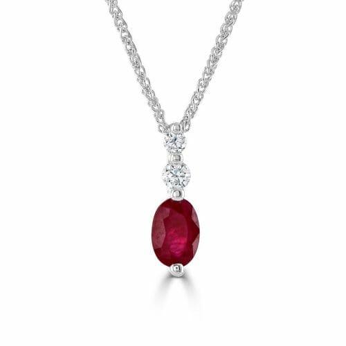 9ct Gold Oval Cut Ruby & Round Brilliant Diamond Three Stone Pendant