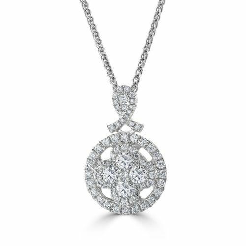 18ct White Gold Round Brilliant Diamond Multi-Cluster Pendant 0.94ct DP1424