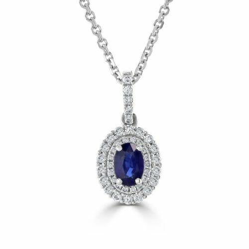 18ct White Gold Oval Cut Sapphire & Round Brilliant Diamond Cluster Pendant