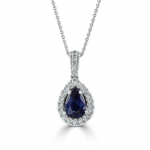 18ct White Gold Pear Cut Sapphire & Round Brilliant Diamond Cluster Pendant