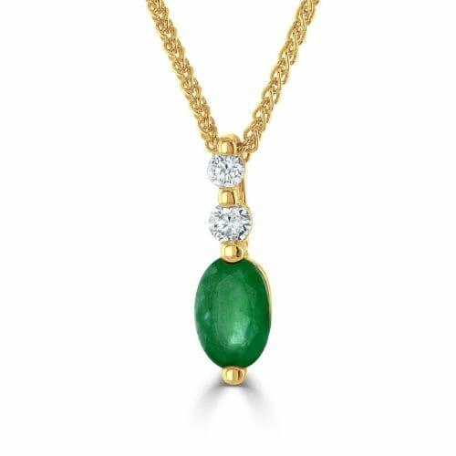 9ct Yellow Gold Oval Cut Emerald & Round Brilliant Diamond Three Stone Pendant